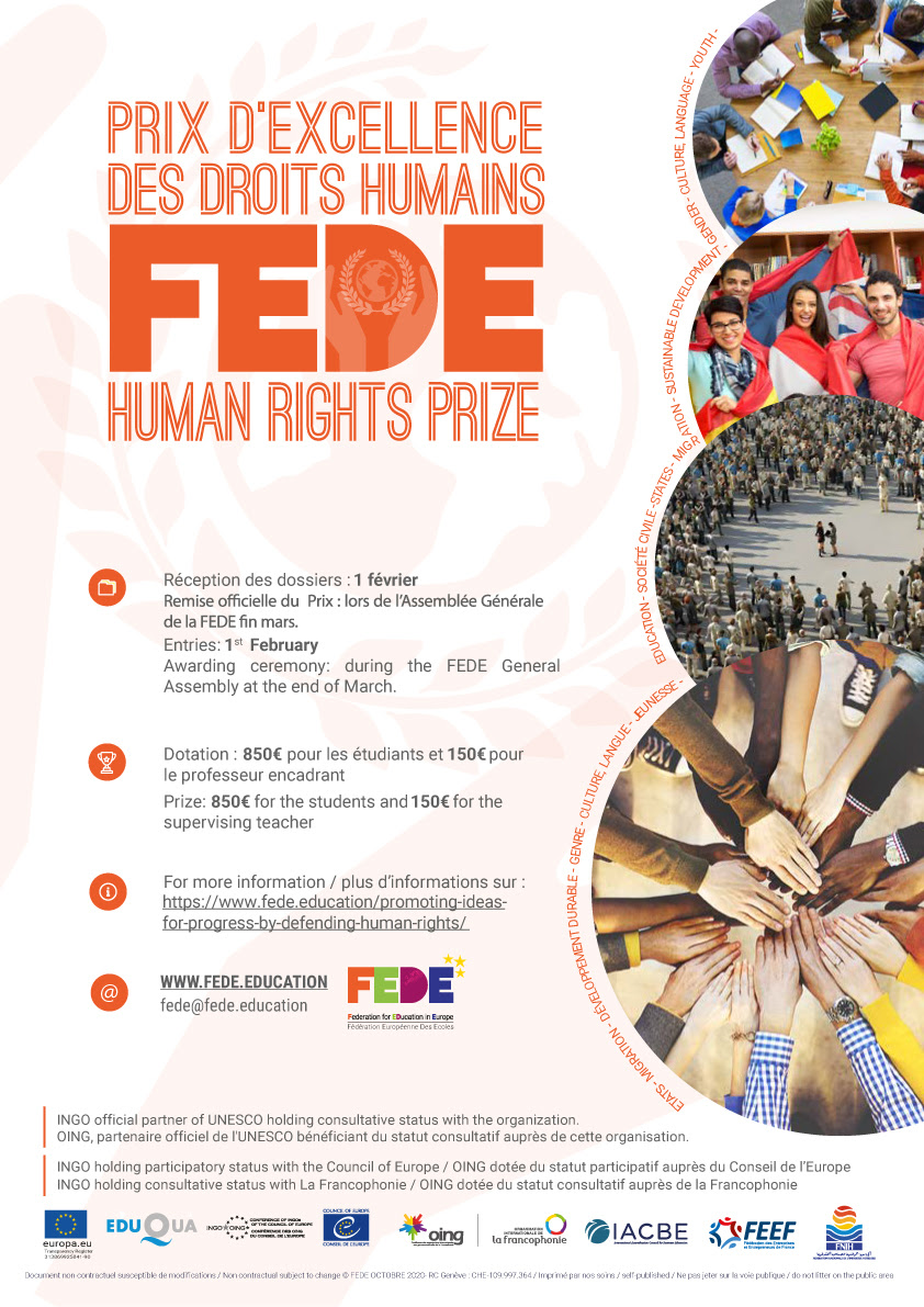 Prix d'excellence des droits humains FEDEThe FEDE Human Rights Prize